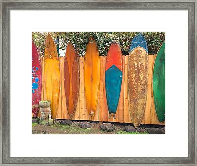 Surfboard Rainbow Framed Print
