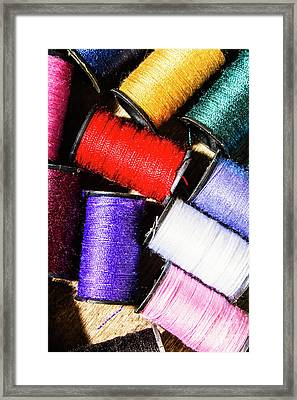Framed Print featuring the photograph Rainbow Threads Sewing Equipment by Jorgo Photography - Wall Art Gallery