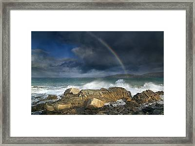 Rainbow To Heaven Shamrock Shores  Framed Print by Betsy Knapp