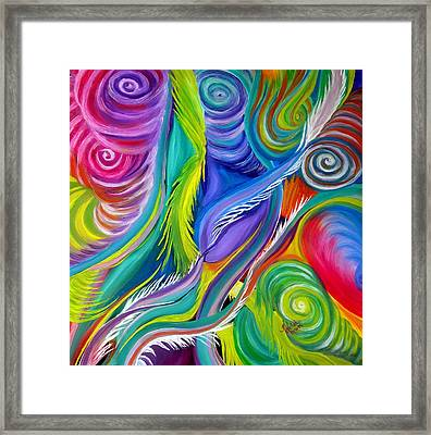 Rainbow Tornadoes Framed Print by Kathern Welsh