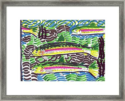 Rainbow Trout School Framed Print by Robert Wolverton Jr