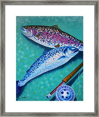 Rainbow Trout With Grilse Framed Print by John  Nolan