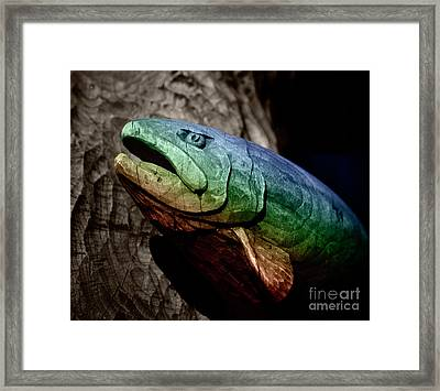 Framed Print featuring the photograph Rainbow Trout Wood Sculpture Square by John Stephens