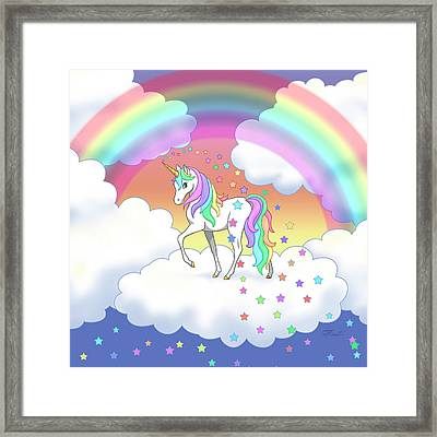 Rainbow Unicorn Clouds And Stars Framed Print by Crista Forest