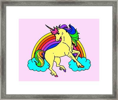 Rainbow Unicorn Framed Print by Stephanie Brock