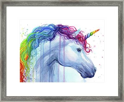 Rainbow Unicorn Watercolor Framed Print