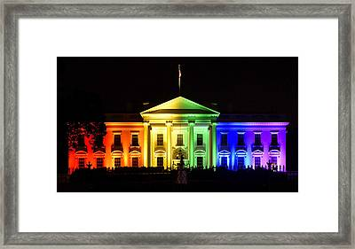 Rainbow White House  - Washington Dc Framed Print by Brendan Reals