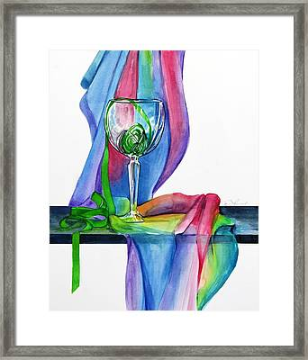 Rainbow Wine Glass Framed Print