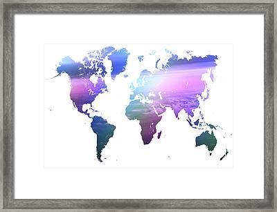 Rainbow World Map. Blue Purple Framed Print by Jenny Rainbow