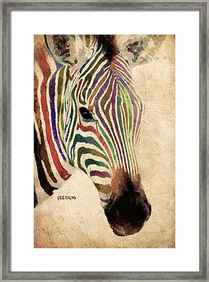 Framed Print featuring the painting Rainbow Zebra by Greg Collins