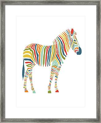 Rainbow Zebra Framed Print by Nicole Wilson