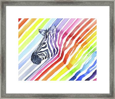 Rainbow Zebra Pattern Framed Print