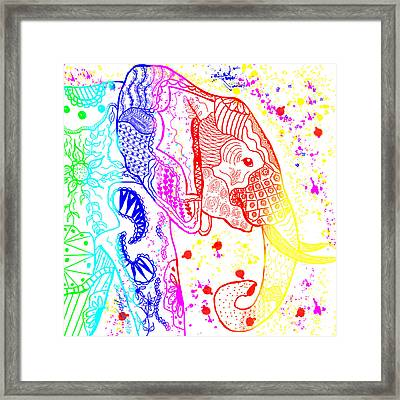 Rainbow Zentangle Elephant Framed Print