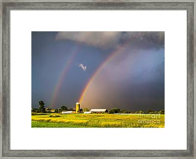 Rainbows And Silos Framed Print by Benjamin Williamson