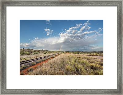 Rainbows Over Ghan Tracks Framed Print