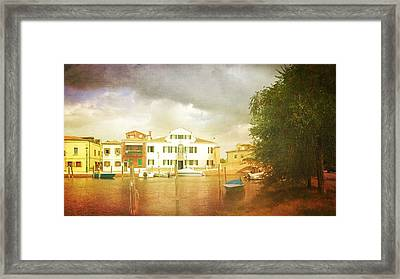 Framed Print featuring the photograph Raincloud Over Malamocco by Anne Kotan