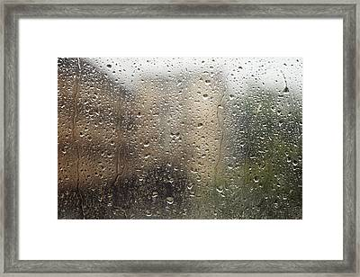 Raindrops On Window Framed Print