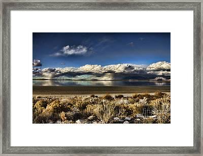 Rainfall Over The Salt Lake Framed Print by Douglas Barnard