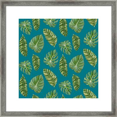 Rainforest Resort - Tropical Leaves Elephant's Ear Philodendron Banana Leaf Framed Print by Audrey Jeanne Roberts