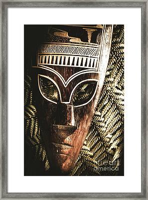 Rainforest Tribal Mask Framed Print