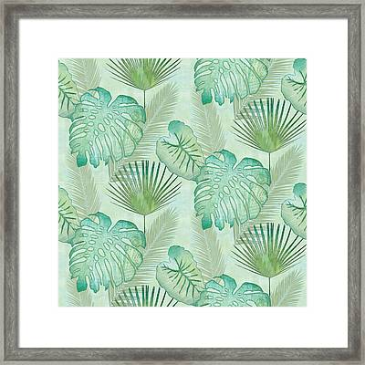 Rainforest Tropical - Elephant Ear And Fan Palm Leaves Repeat Pattern Framed Print