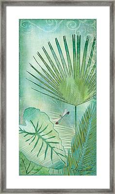 Rainforest Tropical - Elephant Ear And Fan Palm Leaves W Botanical Dragonfly Framed Print by Audrey Jeanne Roberts