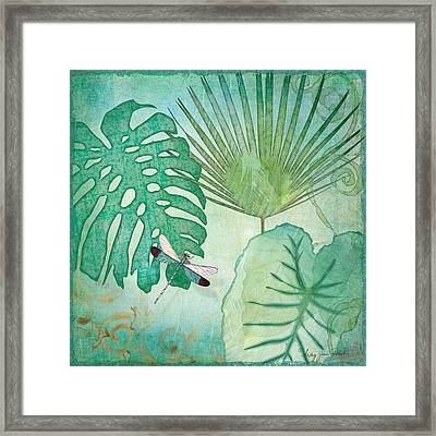 Rainforest Tropical - Philodendron Elephant Ear And Palm Leaves W Botanical Dragonfly 2 Framed Print