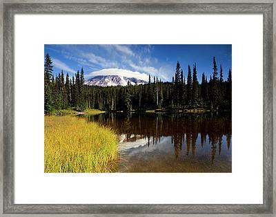 Rainier Capped Framed Print by Mike  Dawson