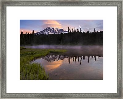 Rainier Lenticular Sunrise Framed Print by Mike  Dawson
