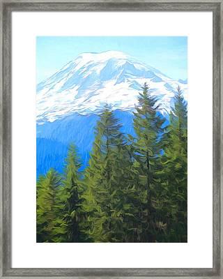 Rainier Peak And Evergreens Framed Print by Dan Sproul
