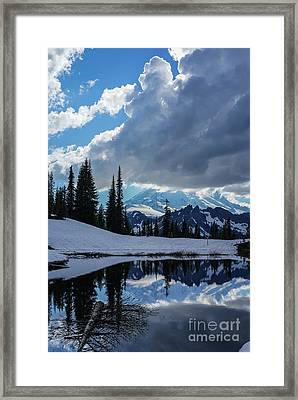 Rainier Reflection Dramatic Skies Framed Print by Mike Reid