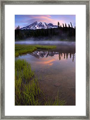 Rainier Sunrise Cap Framed Print