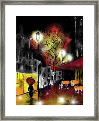 Raining And Color Framed Print