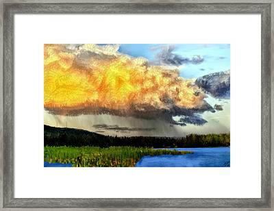 Raining At Sunset Framed Print