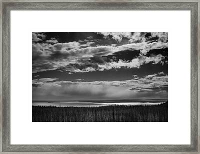Framed Print featuring the photograph Raining At Yellowstone Lake by Jason Moynihan