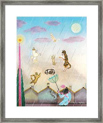 Raining Cats And Dogs Framed Print by Sally Appleby