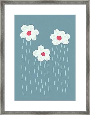 Raining Flowery Clouds Framed Print by Boriana Giormova
