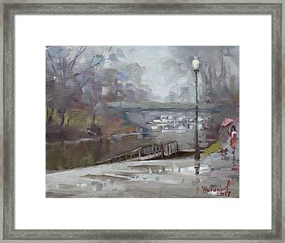 Raining In Tonawanda Canal Framed Print by Ylli Haruni