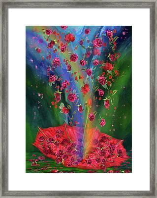 Raining Roses 2 Framed Print by Carol Cavalaris