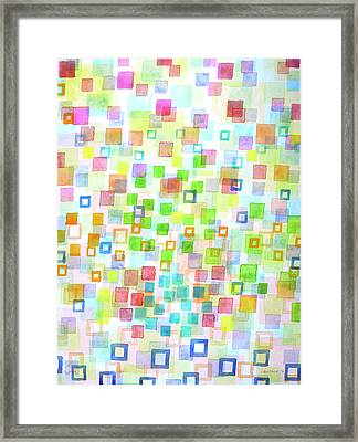 Raining Squares And Frames Framed Print by Heidi Capitaine