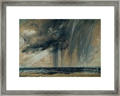 Rainstorm Over The Sea Framed Print