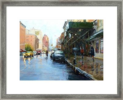 Rainy Afternoon On Amsterdam Avenue Framed Print