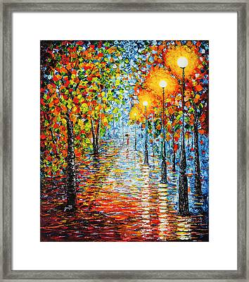 Framed Print featuring the painting Rainy Autumn Evening In The Park Acrylic Palette Knife Painting by Georgeta Blanaru