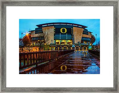 Rainy Autzen Stadium Framed Print by Michael Cross