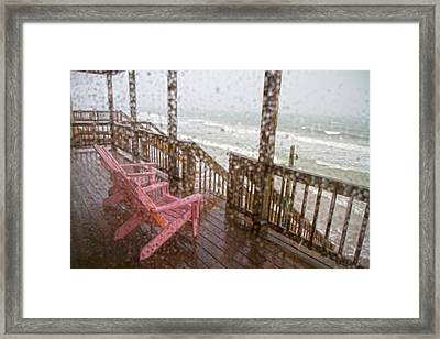 Rainy Beach Evening Framed Print by Betsy C Knapp