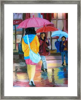 Rainy City Framed Print by Michael Lee