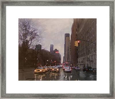 Rainy City Street Framed Print by Anita Burgermeister
