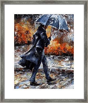 Rainy Day/07 - Walking In The Rain Framed Print by Emerico Imre Toth