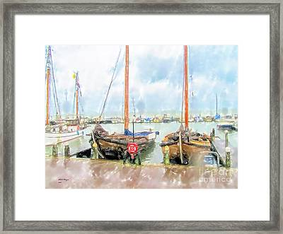 Rainy Day At The Yacht Club Framed Print