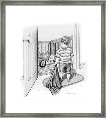 'rainy Day Blues' Framed Print by Christine Lawrence